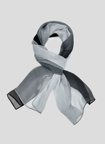 Gradient Colour Scarf, Grey, hi-res