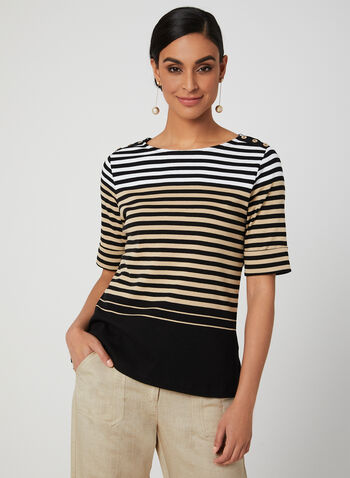 Stripe Print Elbow Sleeve Top, Black, hi-res