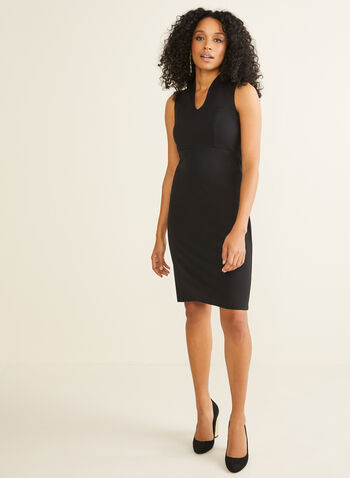 Nina Leonard - Sleeveless Sheath Dress, Black,  Nina Leonard, dress, cocktail dress, sleeveless, exposed zipper, fall 2019, winter 2019