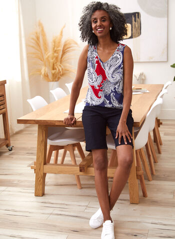 Paisley Print Sleeveless Top, Red,  spring summer 2021, made in canada, camisole, top, v neck, sleeveless, print, motif, paisley