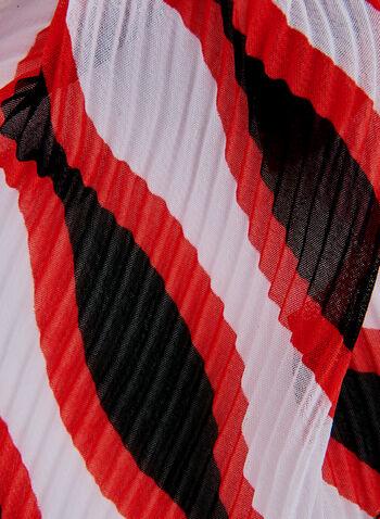 Wavy Stripe Print Scarf, Red, hi-res