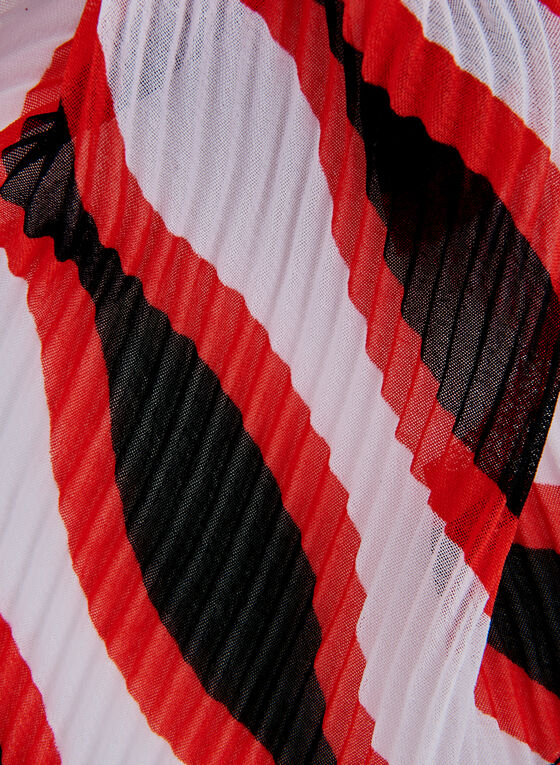 Foulard à rayures ondulées, Rouge, hi-res