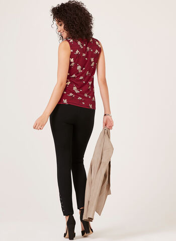 Sleeveless Cowl Neck Blouse, Red, hi-res