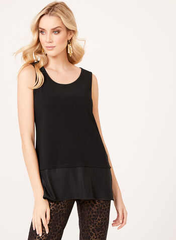 Contrast Hem Sleeveless Top , Black, hi-res