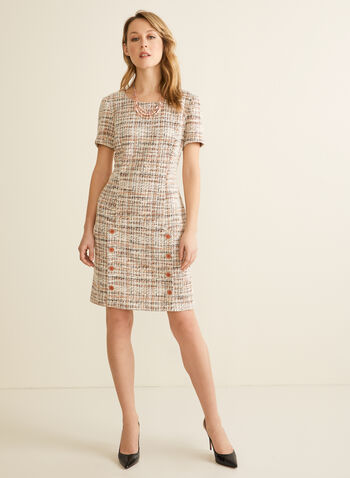 Button Detail Tweed Dress, Brown,  spring 2020, dress. tweed, buttons, short sleeves, straight cut
