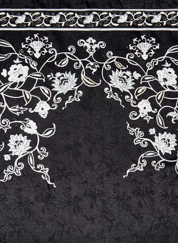Carré de soie imprimé floral, Noir, hi-res