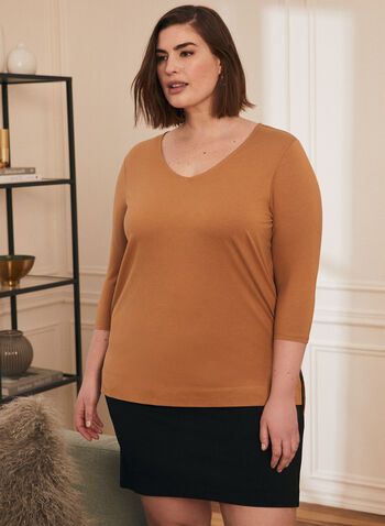 Cotton & Modal T-Shirt, Brown,  t-shirt, 3/4 sleeves, cotton, modal, v-neck, spring summer 2021