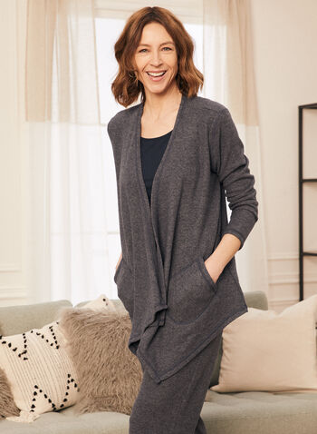 Sweater Knit Cover-Up, Blue,  top, knit, cover-up, open front , 3/4 sleeves, pockets, fall winter 2020
