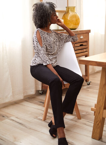 Straight Leg Pull On Jeans, Black,  fall winter 2021, pants, denim, jeans, pull-on, pull on, elastic waist, 5 pockets, straight leg, belt lops, stretch denim