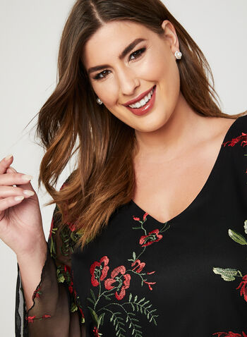 Frank Lyman - Embroidered Floral Dress, Black, hi-res