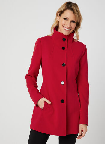 Nuage - Standing Collar Coat, Red, hi-res,  coat, button, long sleeves, spring 2019