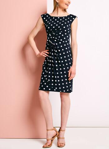Dot Print Faux Wrap Jersey Dress, , hi-res