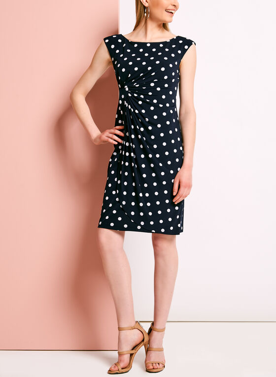 Dot Print Faux Wrap Jersey Dress, Blue, hi-res
