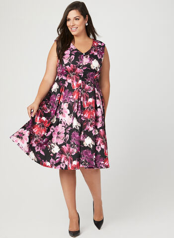 Floral Print Fit & Flare Dress	, Black, hi-res