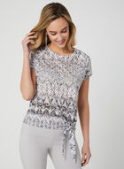Aztec Print Burnout T-Shirt, Grey, hi-res