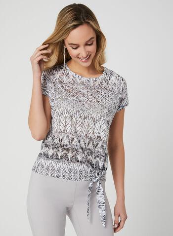 T-shirt à motif aztèque et nœud, Gris, hi-res,  printemps 2019, manches courtes, coton, encolure ronde, lien à nouer