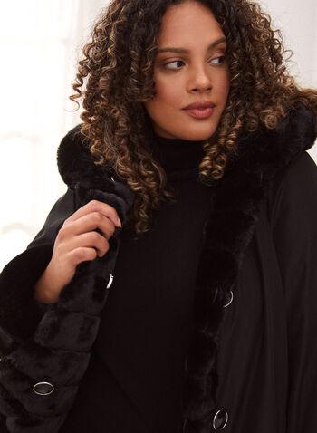 Nuage - Manteau réversible en fausse fourrure, Noir,  nuage, manteau, réversible, extérieur, capuchon intégré, manches longues, boutons, poches, réversible, fausse fourrure, résistant à l'eau, résistant au vent, automne hiver 2021