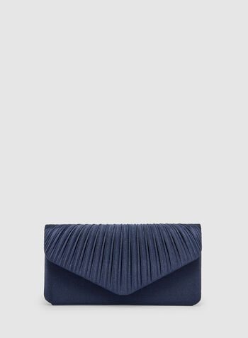 Pleated Satin Clutch, Blue, hi-res