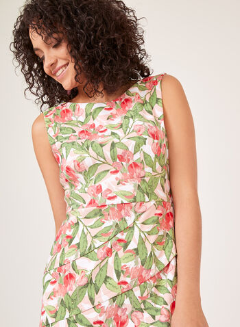 Floral Print Tiered Dress, Orange, hi-res