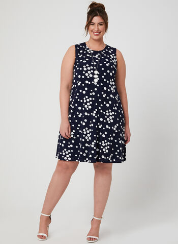 Puff Print Trapeze Dress, Blue, hi-res,  sleeveless dress, day dress, polka dots, loose dress, spring 2019