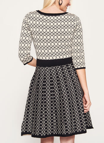 Geometric Print Fit & Flare Dress, , hi-res