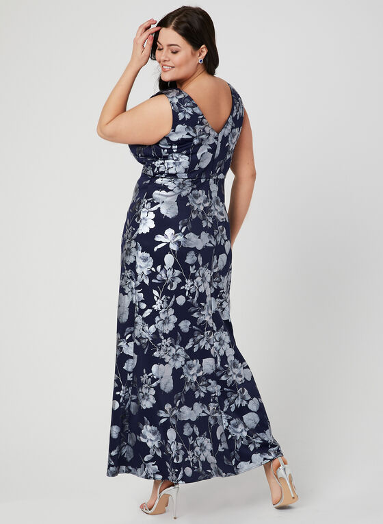 Foil Floral Print Dress, Blue, hi-res