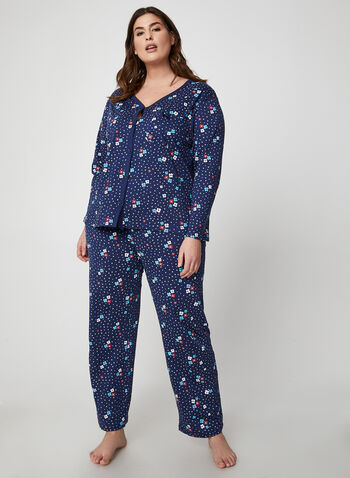 Hamilton - Floral & Polka Dot Print Pyjama Set , Blue,  pyjama set, cotton, floral, dot, patch pocket, fall winter 2019