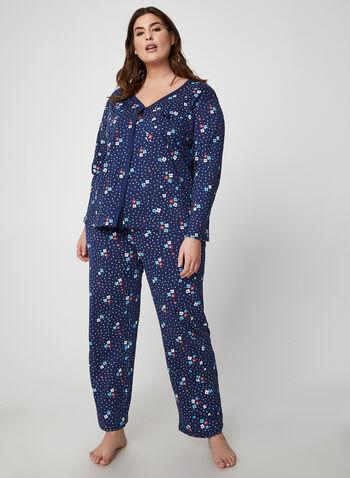 Hamilton - Pyjama 2 pièces motif fleurs et pois, Bleu,  pyjama, chemisier, pantalon, fleurs, pois, coton, automne hiver 2019