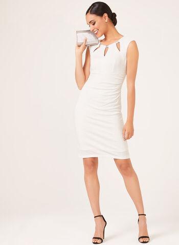 Robe pailletée à décolleté ajouré et détails bijoux, Blanc, hi-res