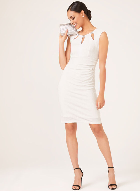 Crystal Detail Metallic Accent Dress, White, hi-res