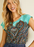 Mosaic Print Short Sleeve Top, Blue