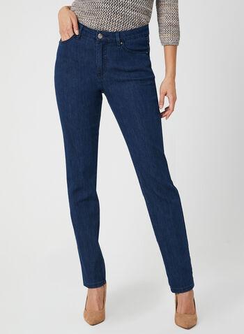 Simon Chang - Jean coupe signature à jambe droite, Bleu, hi-res,  jean, jambe droite, signature, broderies, poches, printemps 2019