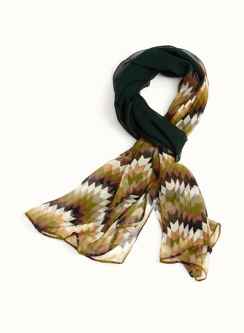 Foulard oblong léger motif zigzag, Vert, hi-res
