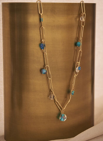 Link & Bead Necklace, Blue,  spring summer 2021, accessory, accessories, jewelry, jewellery, stones, faceted, pendants
