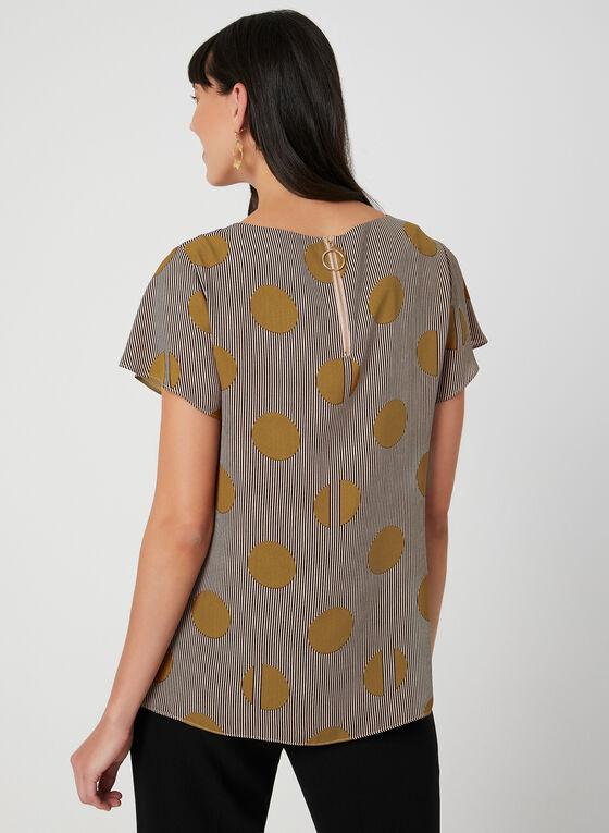 Printed Short Sleeve Top, Brown