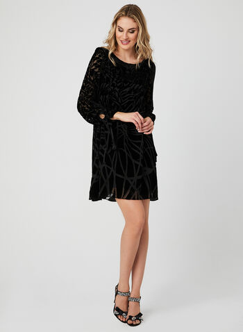Abstract Print Velour Dress, Black, hi-res