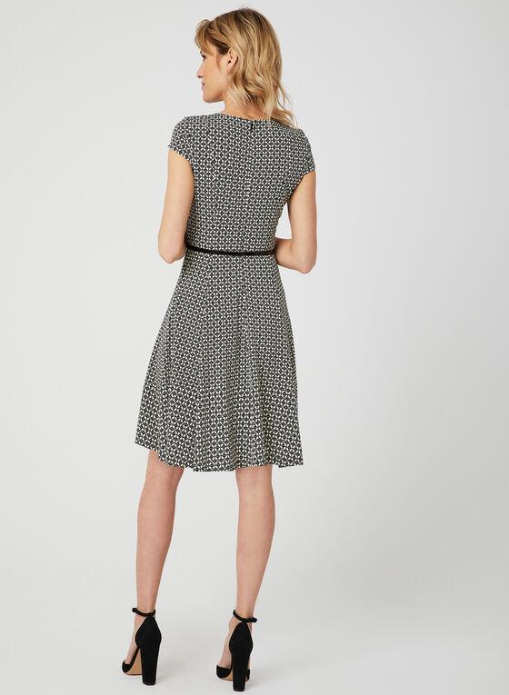 Belted Fit & Flare Dress, Black, hi-res