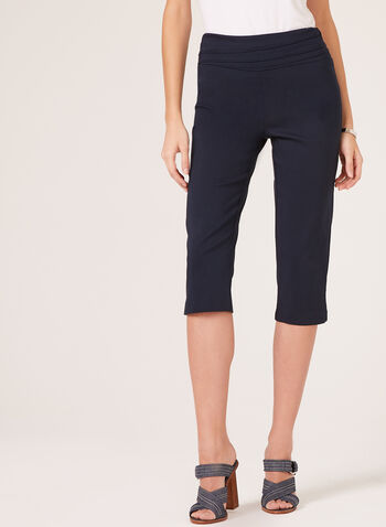Pull On Wide Waist Capris, Blue, hi-res