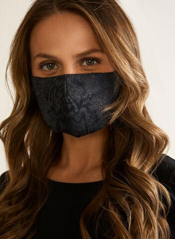 Masque en tissu motif serpent, Gris,  masque, serpent, tissu, automne hiver 2020