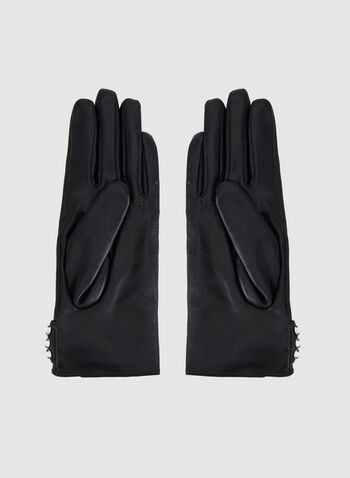 Crystal Embellished Leather Gloves, Black, hi-res