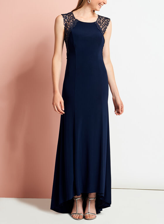 Jersey Glitter Lace Gown, Blue, hi-res