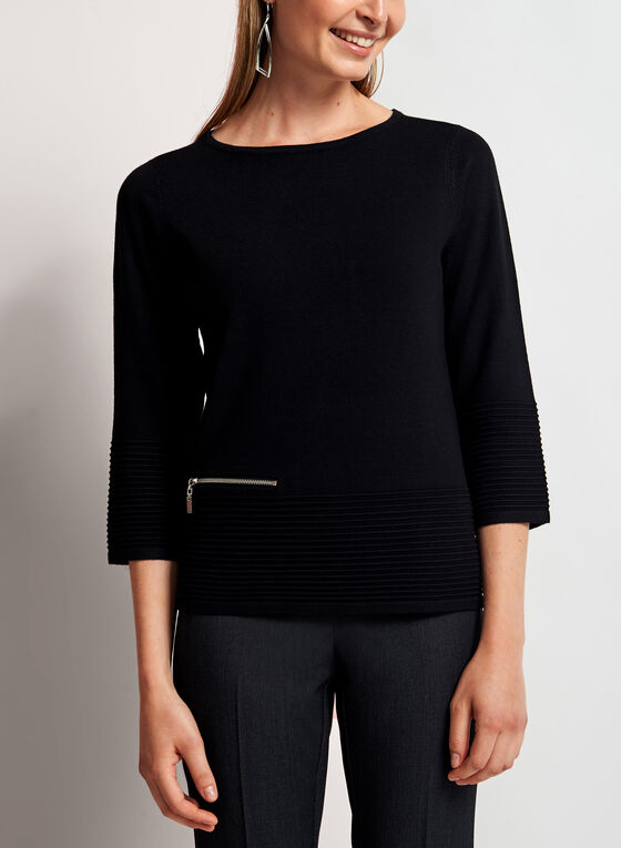 ¾ Sleeve Boat Neck Sweater, Black, hi-res