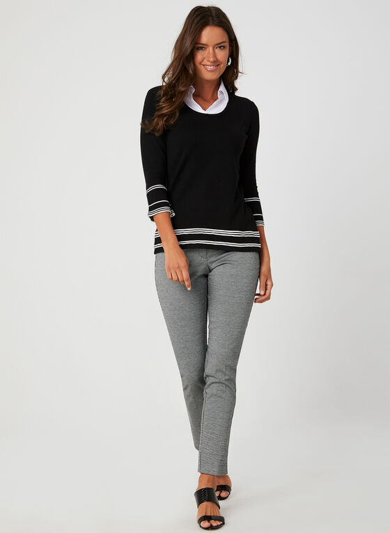 Pull illusion en tricot et détails contrastants, Noir