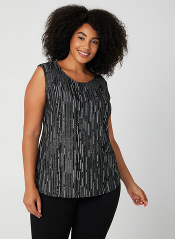 Jacquard Sleeveless Top, Black,  rounded hem, sleeveless, scoop neck, Made in Canada, fall winter 2019,