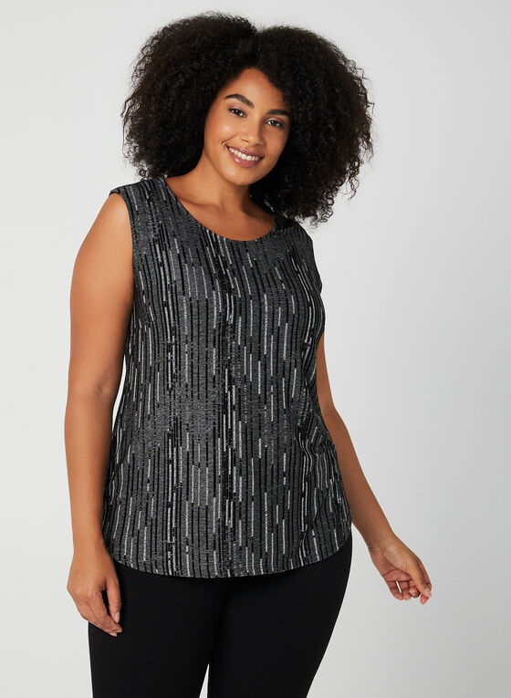 Jacquard Sleeveless Top, Black