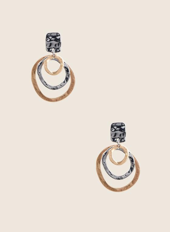 Textured Triple Row Dangle Earrings , Yellow