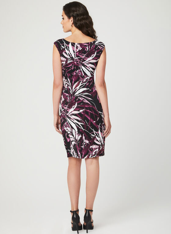 Leaf Print Faux Wrap Dress, Red, hi-res