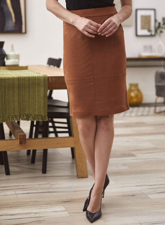 Faux Suede Pencil Skirt, Beige