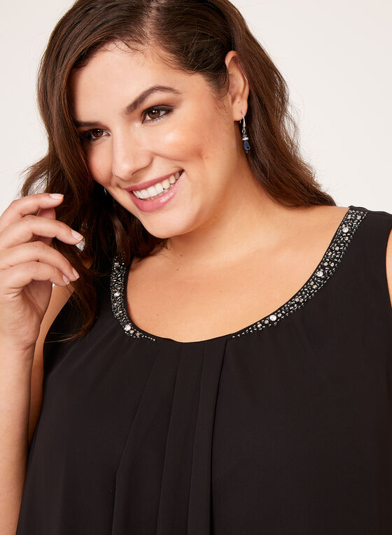 Tiered Beaded Neck Chiffon Dress, Black, hi-res