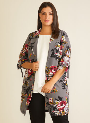 Floral Print Notched Collar Duster, Grey,  jacket, top, open, front, duster, elbow sleeves, knot, floral, notched collar, fall winter 2020